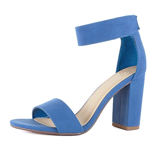 3715bd9f590 Women Velcro Ankle Strap Chunky Block Dress High Heel Comfortable Sandals