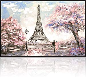 Visual Art Decor Large Painting of Couple on Romance Blossoming Paris Street Eiffel Tower Canvas Prints Wall Art Framed and Stretched Picture Modern Home Office Decal (06 Pink XLarge Floater Frame)