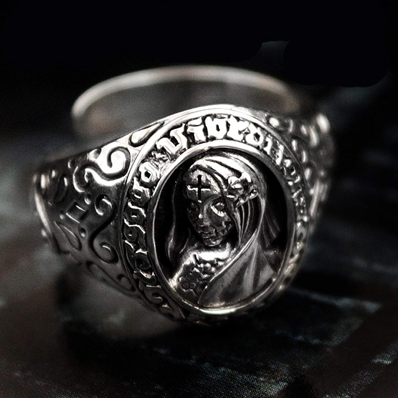 Epinki 925 Sterling Silver Adjustable Ring for Men Silver Zombie Skull Ring Punk Rock Vintage Gothic Biker Jewelry