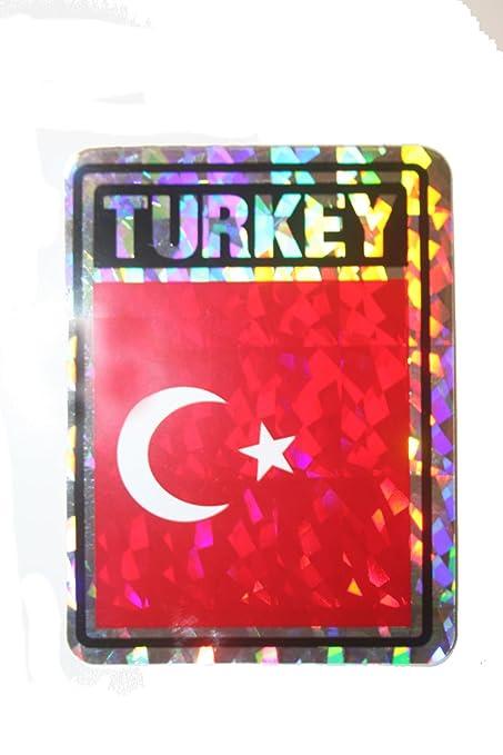 TURKEY COUNTRY FLAG  METALLIC BUMPER STICKER DECAL . 4 X 3 INCH