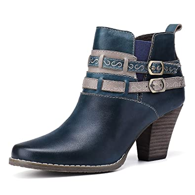gracosy Stiefeletten Damen mit Absatz, 2019 Leder Zip Warme Kurze Stiefel  Schnalle Gurt Schnee Schuhe c02e8d8abc