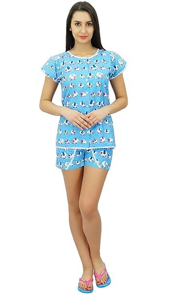2cd2ca6006 Bimba Women s Cotton Nightwear Button-Down Top with Shorts Cute Night Suit  Set at Amazon Women s Clothing store