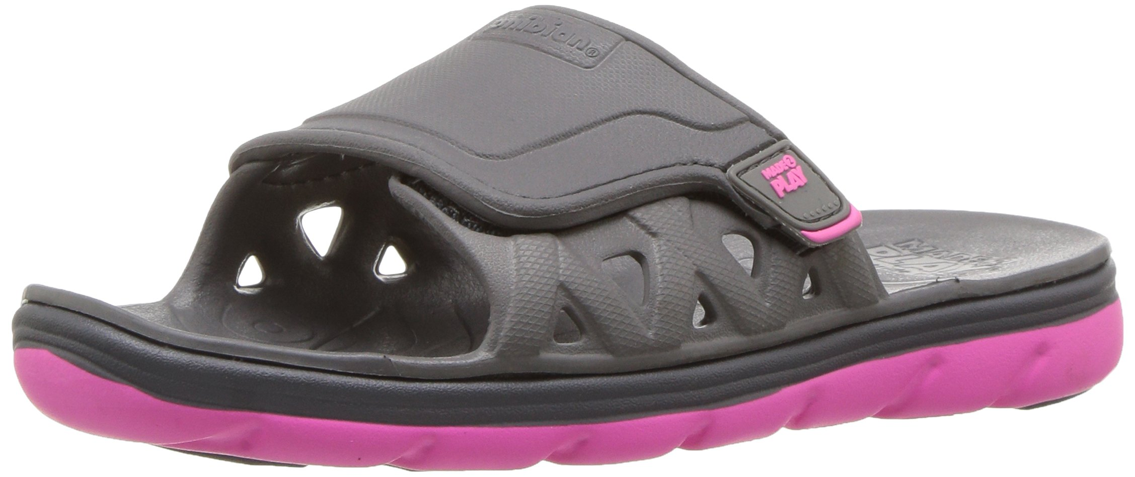 Stride Rite Made 2 Play Phibian Slide Sandal (Toddler/Little Kid/Big Kid), Grey/Pink, 2 M US Little Kid