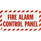 """SmartSign Adhesive Vinyl Label, Legend """"Fire Alarm Control Panel"""", 5"""" high x 10"""" wide, Red on White"""
