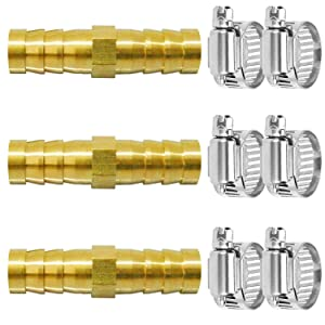 "Da by 3 pcs 3/8""(10mm) Barb Splicer Mender Hose Brass Barb Fitting with 6 pcs Stainless Steel Pipe Clamps for Water/Fuel/Air"