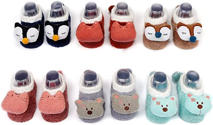 LOT OF 3 PAIRS BABY BOYS SLIPPER SHOES RUBBER DOT BOTTOM NON SKID 0-12 MONTHS