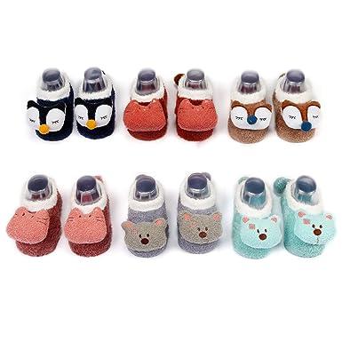 ca754fd19 Baby Girls Boys Slipper Socks 3D Animal Infants Toddler Cotton Indoor Floor  Anti-skid Warm