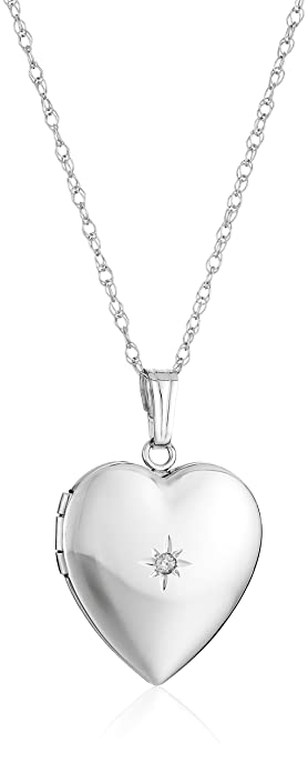 25050d7575815 14k Gold Heart Locket Necklace with Diamond-Accent, 18
