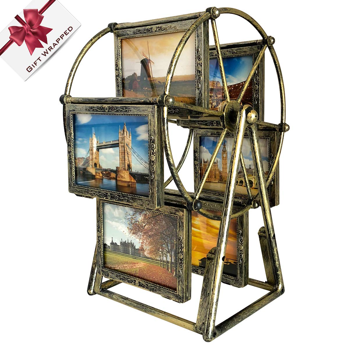Vintage Rotating Ferris Wheel Photo Frame, 12 Photos Shows For 3.5x5in Photographs, Multiple Picture Frames With Glass Front, Fit for Stands Vertically on Desk Table Top (Bronze) XBEEK