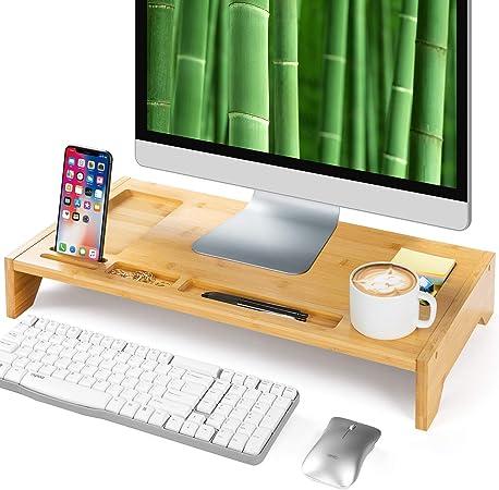 Amada Bambus Monitorständer Mit Telefonkerben Platz Computer Zubehör