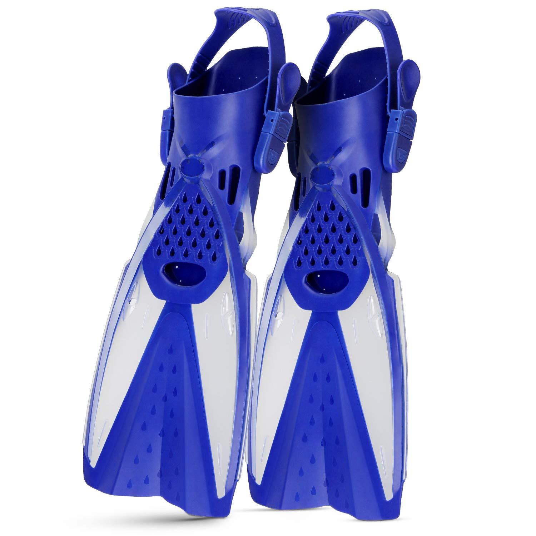 CAPAS Snorkel Fins, Snorkeling Fins Swim Fin Short Adjustable Diving Fins for Adult Men Womens Kids Scuba Diving Swimming Duck Feet Swim Travel Open Heel Flippers Snorkelling Fins (Blue White, S/M)