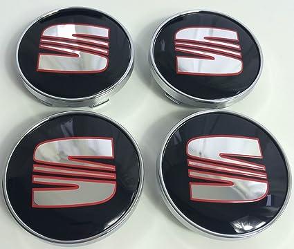 4 x color rojo logotipo de cromo emblema insignia 60 mm rueda centro tapacubos tapas fr