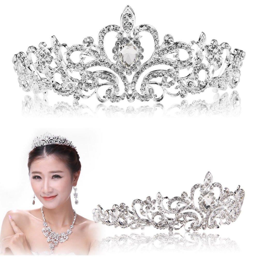 YSTD® Bridal Princess Austrian Stunning Crystal Hair Tiara Wedding Crown Veil Headband