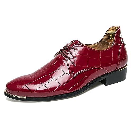 Zapatos Cuero Hombre Vestir Mocasines Zapatos Formales Oxford Clásico Zapatos Boda Fiesta Rojo 42: Amazon.es: Zapatos y complementos