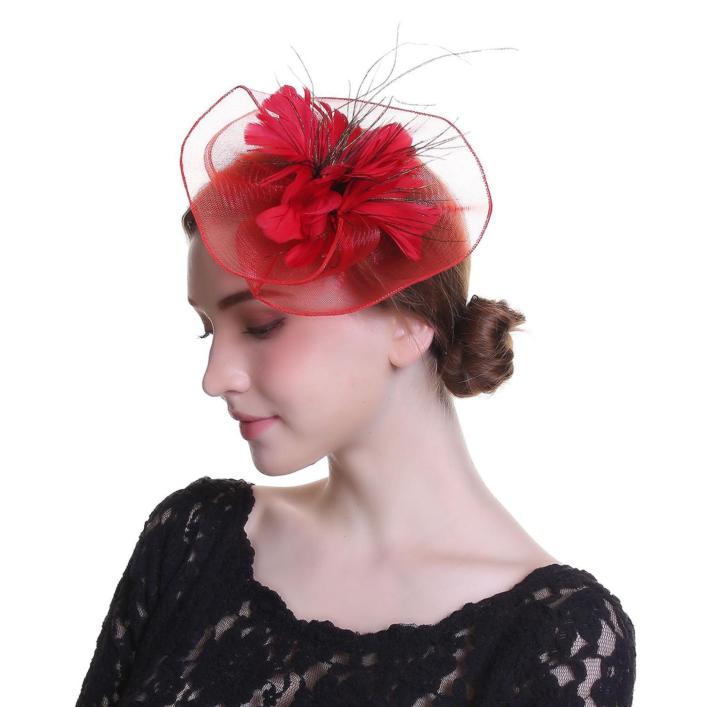 Welrog Elegant Fascinator Hat Flower Mesh Kentucky Derby Feathers Church Cap