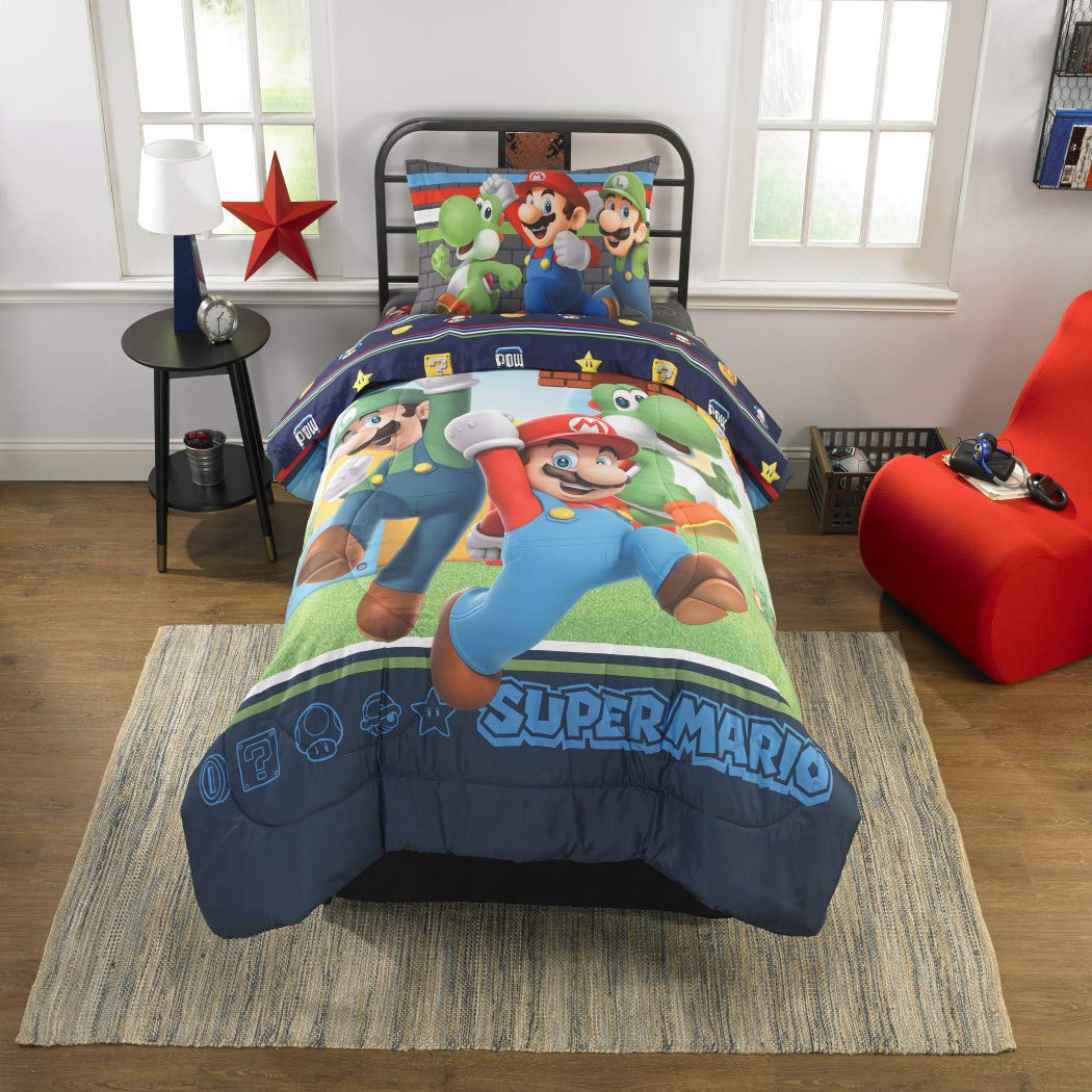 Amazon.com: TN 1 Piece Kids Red Super Mario Bros Comforter Green Luigi,  Characters Yoshi Bedding Blue Plumbers Video Game Themed, Reversible  Polyester: Home ...