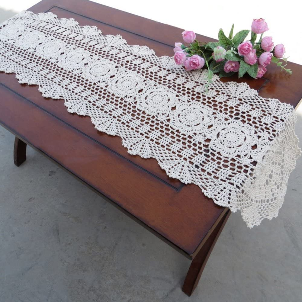 "yazi Hand Crochet Table Runner Rustic Floral Tablecloth Pure Cotton Table Cloths Oval Table Covers for Cabinet 11.8""X47.2""(30X120cm)"