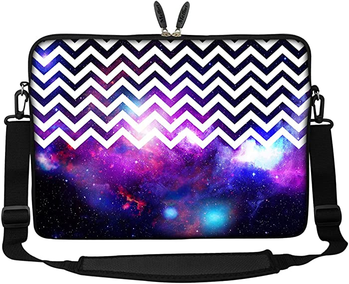 Meffort Inc 17 17.3 inch Neoprene Laptop Sleeve Bag Carrying Case with Hidden Handle and Adjustable Shoulder Strap - Chevron Pattern Galaxy