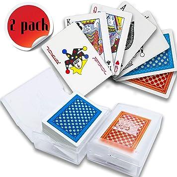 Happylohas baraja Cartas Poker plastico, de Cartas Poker, Juego de Poker, baraja de Cartas Poker, Juegos de póquer para niños Solitario (Conjunto de 2 - (Azul + Rojo) 08): Amazon.es: Juguetes y juegos