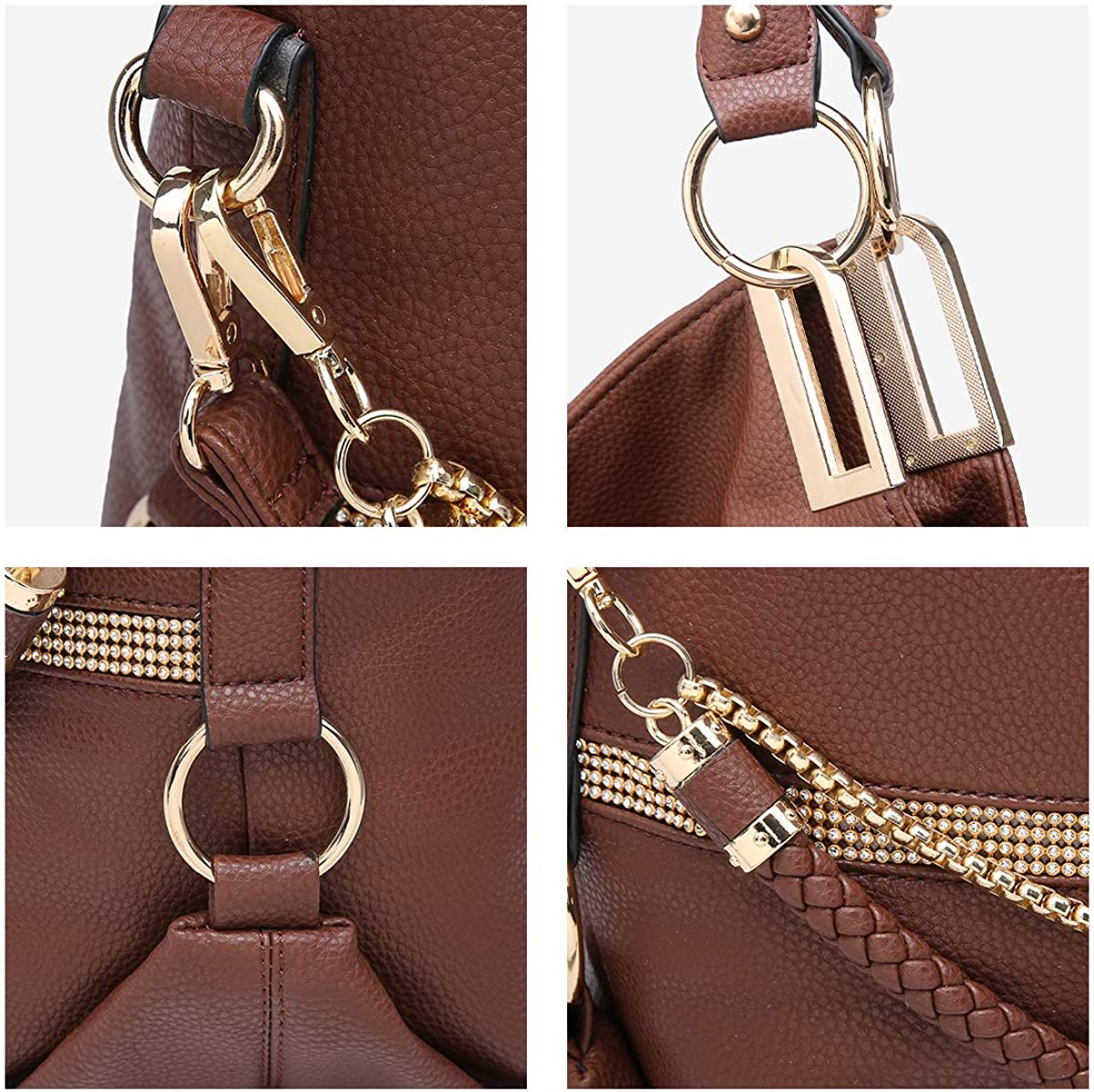 Dasein Women Classic Large Hobo Bag Rhinestone Chain Shoulder Bag Top Handle Purse