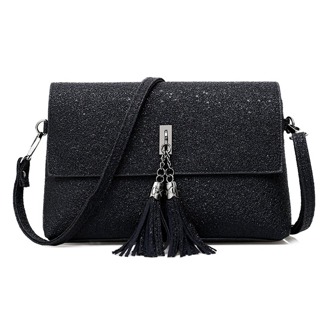 Gabrine Womens Evening Shoulder Bag Handbag Clutch Shining Sequins Tassel Pendant(Black)