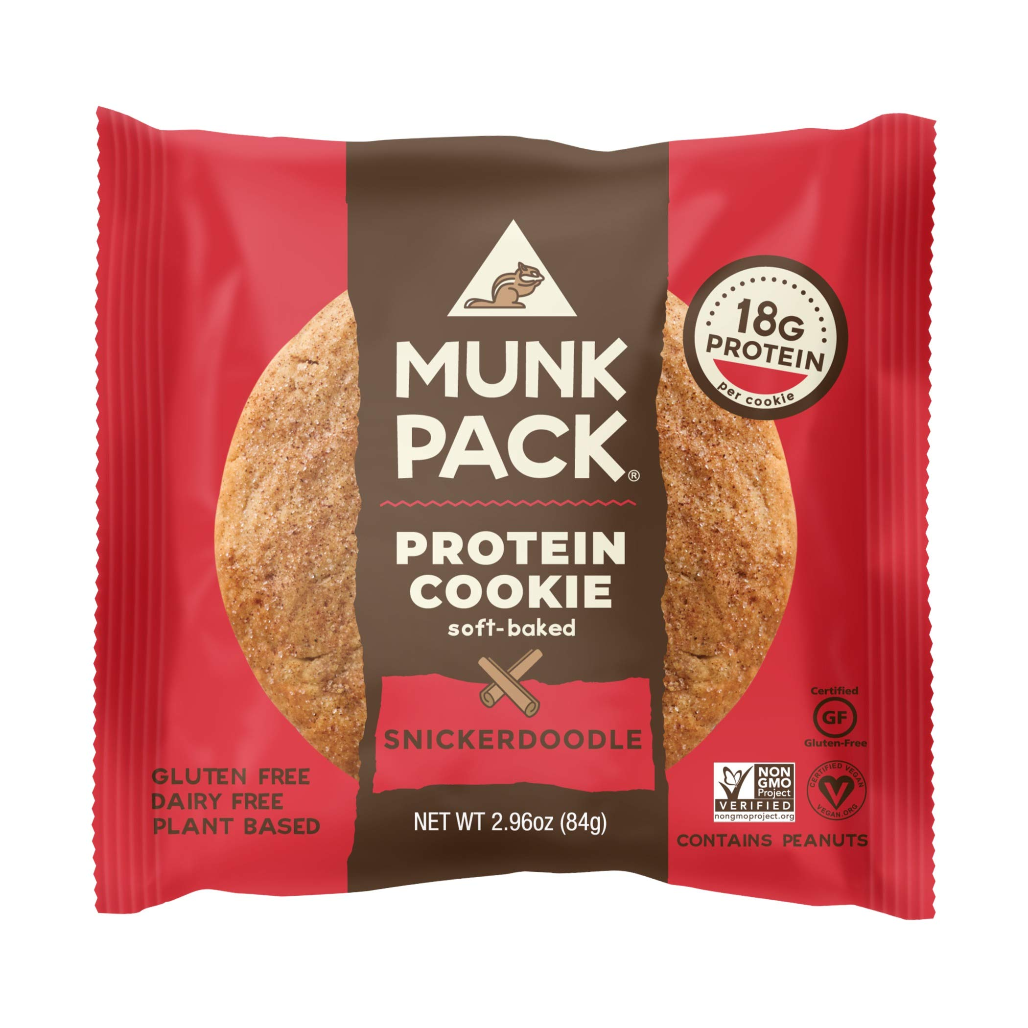 Munk Pack Protein Cookie | Snickerdoodle | 18G Protein | Vegan, Gluten Free, Dairy Free, Soy Free, Soft-Baked | 2.96oz, 12-Pack