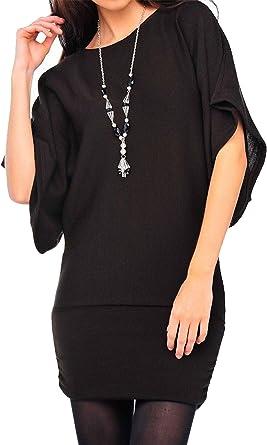 Womens Baggy Batwing Longline Ladies Plain Short Sleeve Necklace Top  8-20