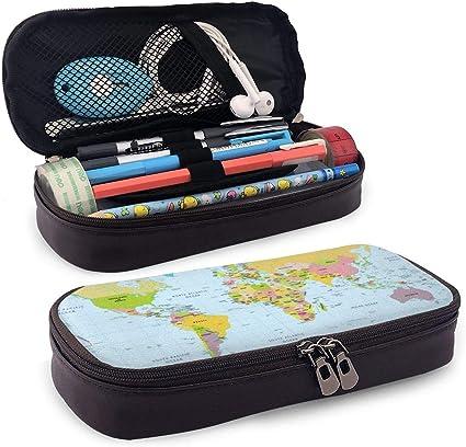 Estuche para lápices de mapamundi con doble cremallera, para la escuela, la oficina o viajes: Amazon.es: Oficina y papelería