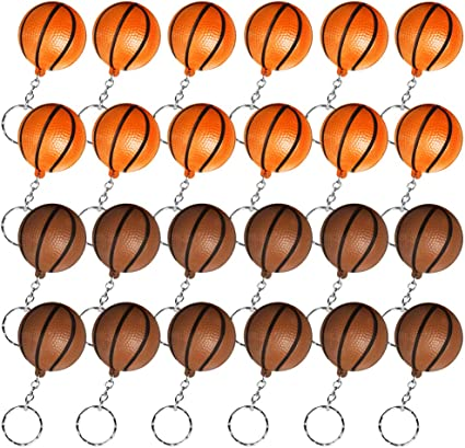 Amazon Com 24 Pack Basketball Keychains For Party Favors And School Carnival Reward Ideas Gifts For Basketball Theme Party Orange Brown Toys Games