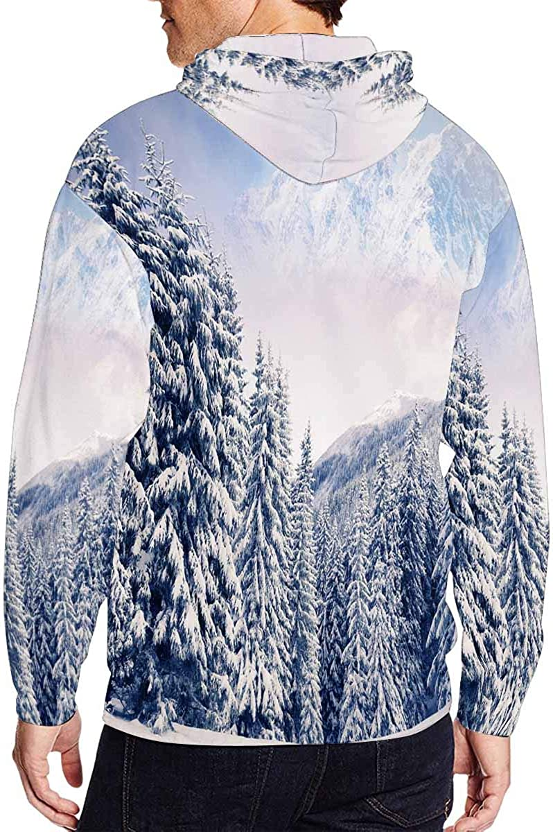 INTERESTPRINT Mens Full Zip Hoodie Sweatshirt Fantastic Winter Landscape and Blue Sky