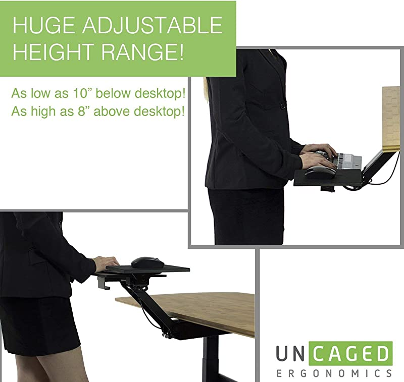 KT2 Ergonomic Under-Desk Keyboard Tray w/ Large Adjustable Height Range