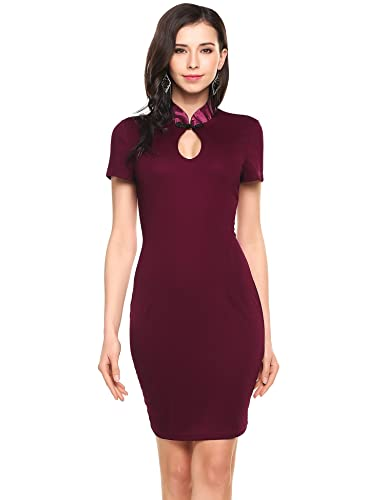 Angvns Women's Sexy Keyhole Bodycon Office Dress For Work