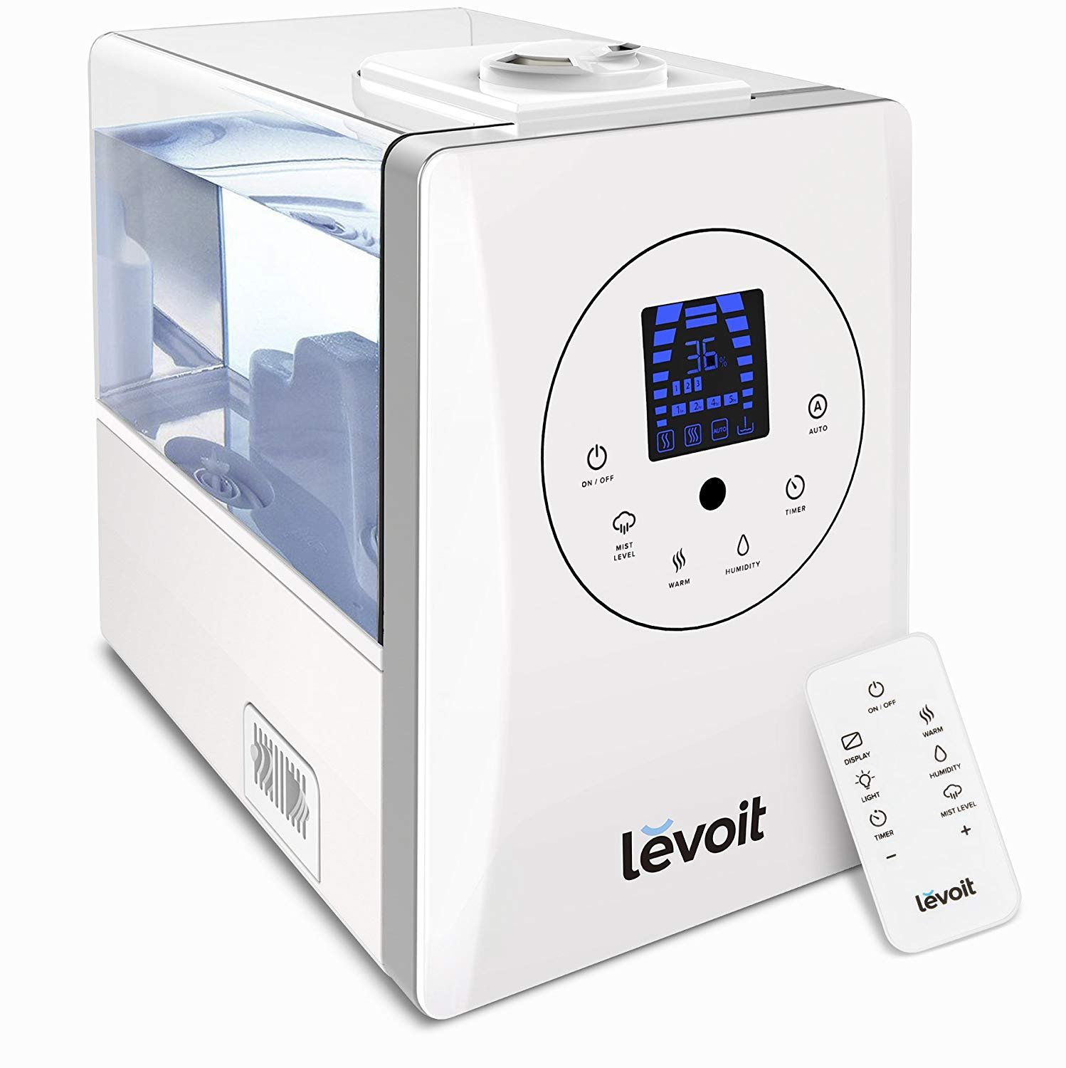 Levoit Humidifiers, 4.5L Ultrasonic Cool Mist Humidifier with 3 Adjustable Mist Levels, Quiet Operation, One Touch Control, Waterless Auto Shut-Off and Night Light, Essential Oil Diffuser for Bed Room, Babies
