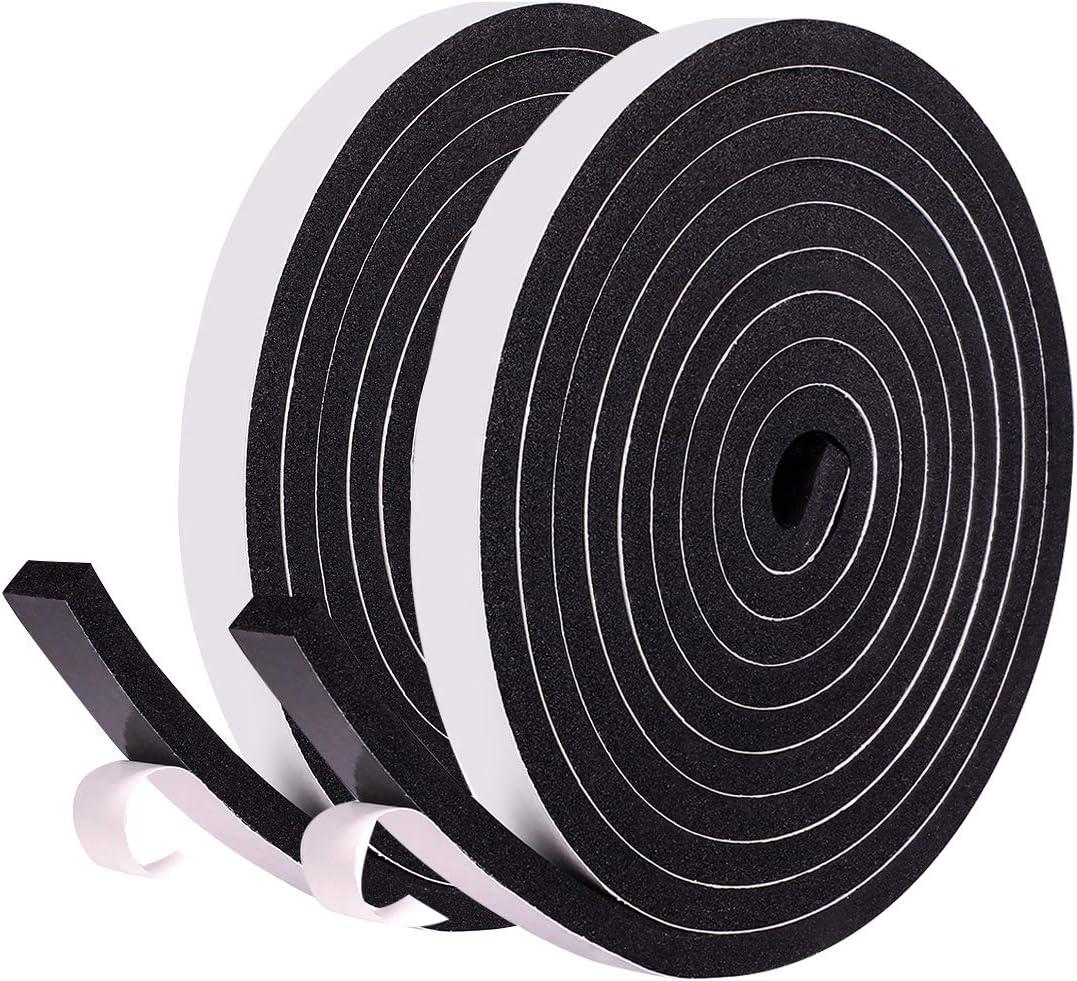 Fowong Ultra Strong polietileno de c/élula cerrada, cinta adhesiva de espuma, gomaespuma color negro Cinta adhesiva de doble cara