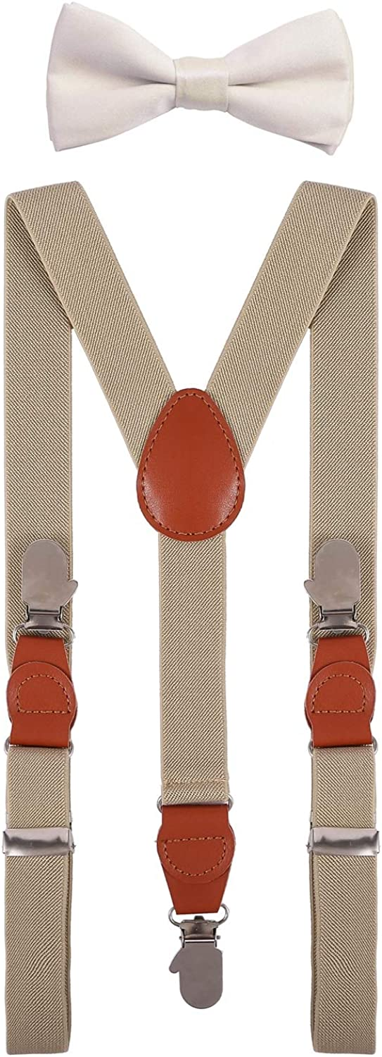 SUNNYTREE Boys Suspenders and Bowtie Set with Hands Shape Clips
