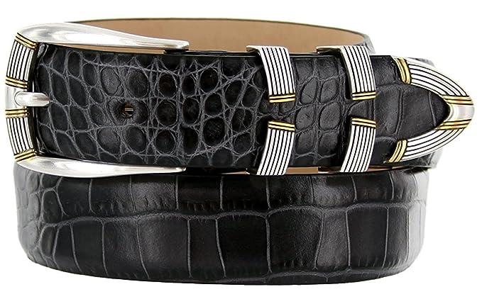 83d3494a8c94 Avnet Ceinture Homme 30mm Classique Cuir De Veau Italien À Boucle Argentée,  Alligator Charcoal 80