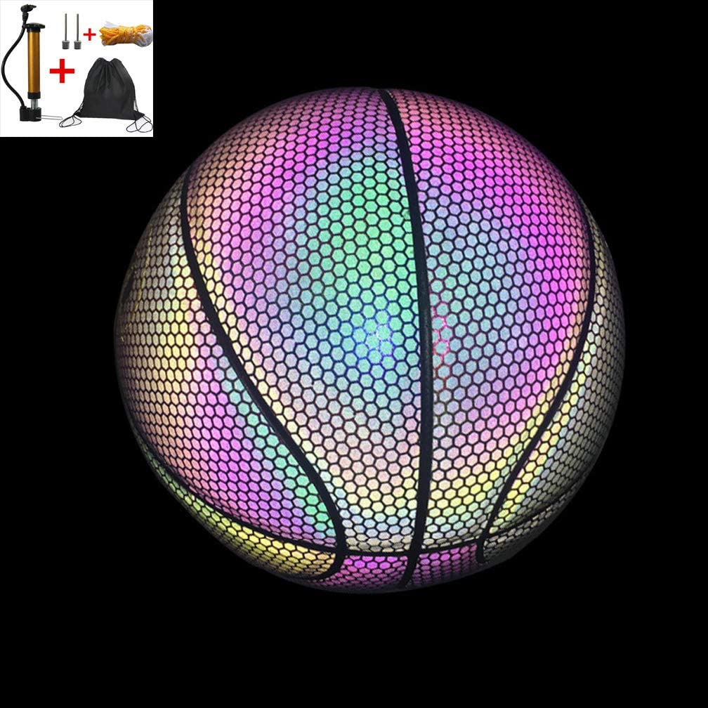 Light Up Basketball Ball Luminous Basketball Night Game PU Glow In The Dark Basketball Fluorescent Bright After Sun Shine Official Size/& Weight Size 7