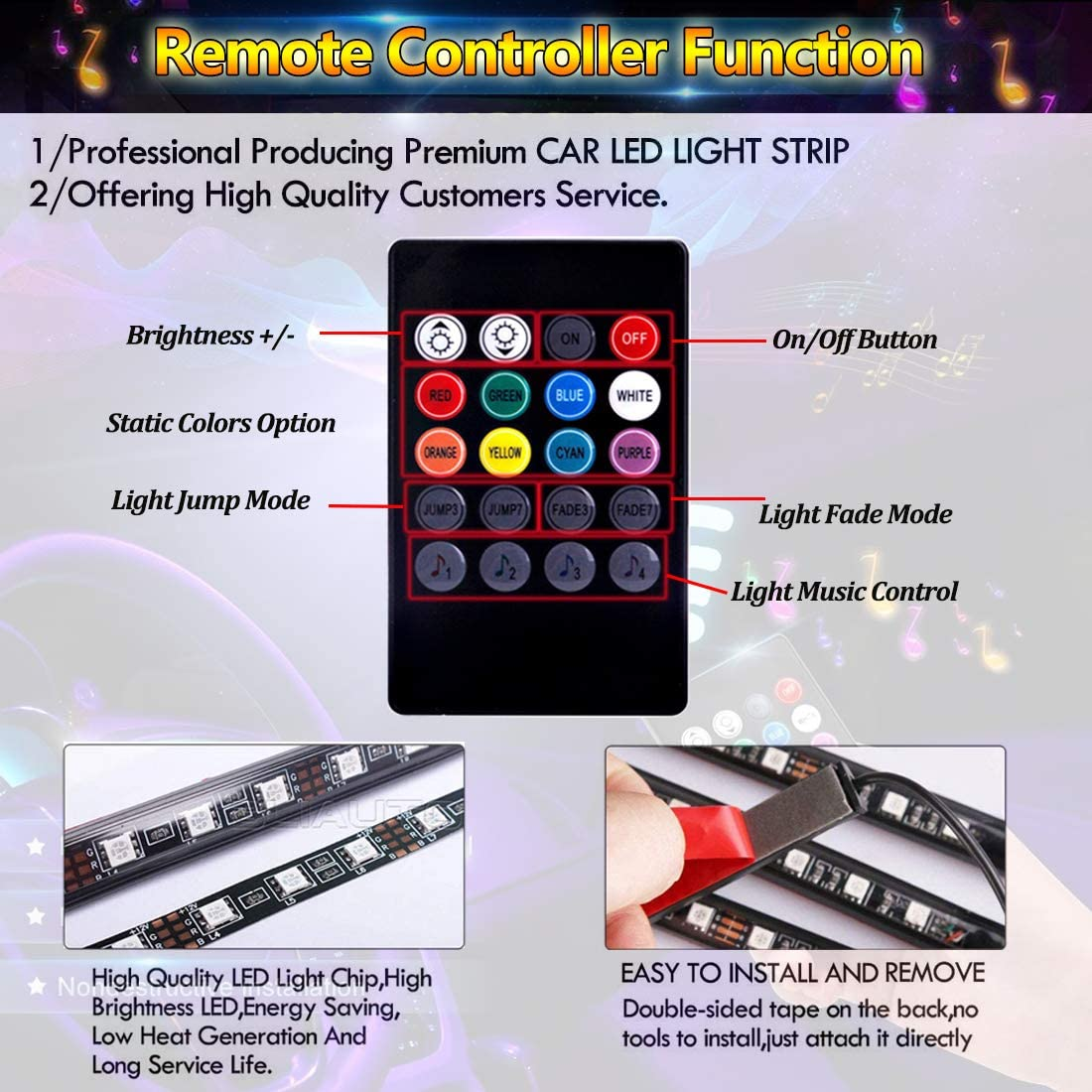 BLIAUTO Car LED Strip Light USB 48LEDs Car LED Footwell Interior Lights Atmosphere Neon Lights 4PCS 12V RGB Multicolor Underdash Lighting Kit with Remote Sound Active USB-48 Leds