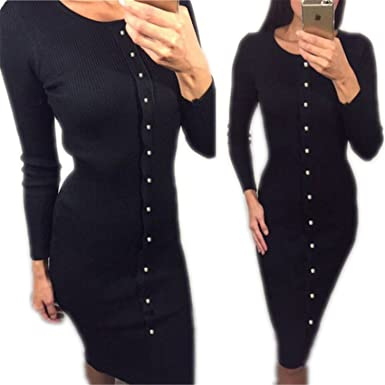 6fe7a463b2 Image Unavailable. Image not available for. Color  HuoGuo New Winter Autumn  Work Style Women Bodycon Dresses Sexy New Arrival Casual Warm Long Sleeve