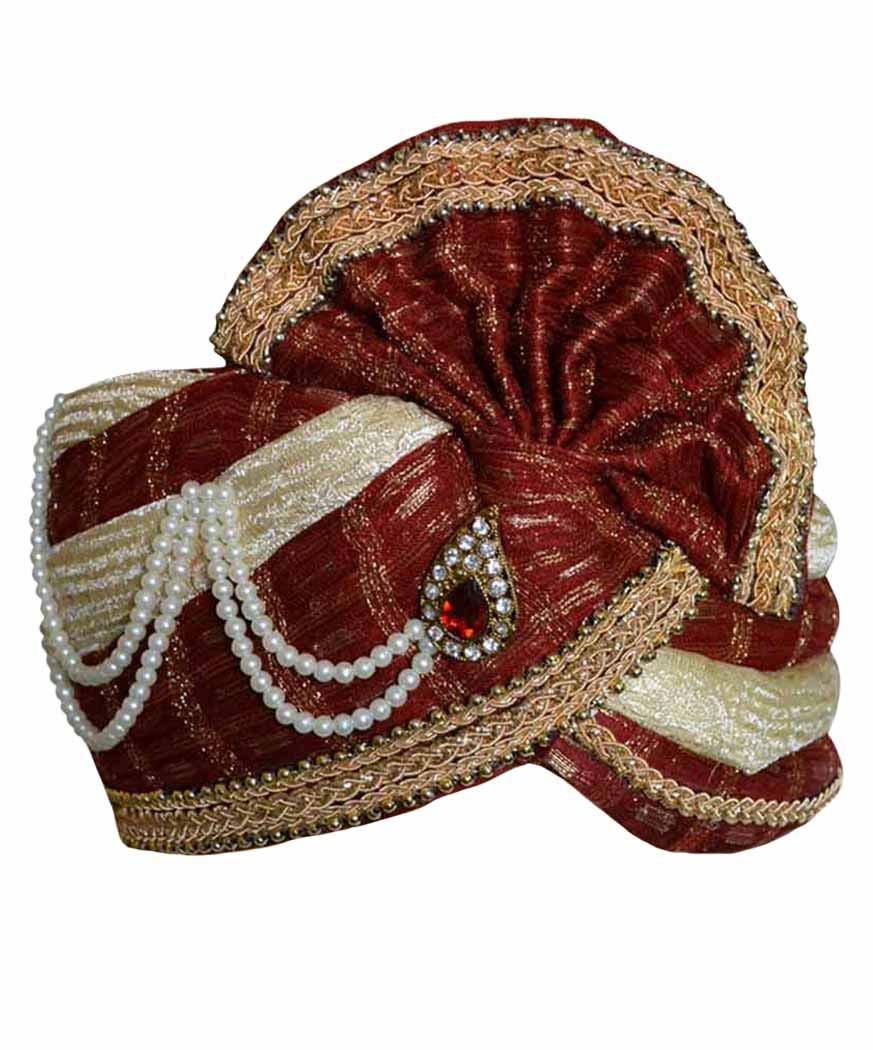 INMONARCH Mens Perfect Wedding Turban pagari safa hat for Groom TU2111 23-inch Cream-maroon