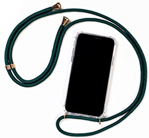 KILUCASE Smartphone Necklace - Clear Protective Anti-Shock Case with Lanyard Strap Cord in Dark Green (Compatible with iPhone XR)