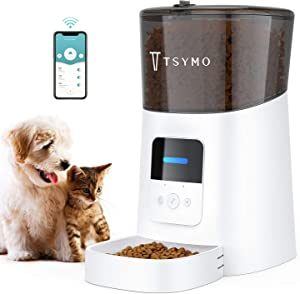 TSYMO Automatic Cat Feeder - 6L App Control Pet Food Dispenser for Cats & Puppies with Anti-Clog Design, Voice Recording, Scheduled Feeding and Portion Control, 1-15 Meals a Day (2.4G WiFi)