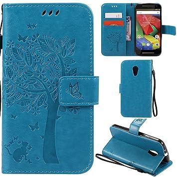 Ooboom® Funda para Moto G2 Flip Wallet Case Cover Carcasa Piel PU Billetera Soporte con Ranuras Tarjetas Cierre Magnético - Azul