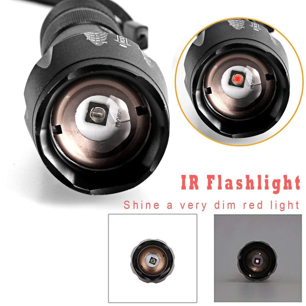 UltraFire IR Illuminator linterna 850/nm luz infrarroja Visi/ón Nocturna linterna Enfoque adjustablenfr Ared LED Linterna para visi/ón nocturna Coyote Hog Predator Caza