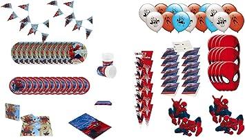 ALMACENESADAN 1008, Pack Fiesta y cumpleaños Spiderman, 12 Invitados (115 Piezas): Amazon.es: Juguetes y juegos