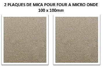 JBG - Juego de 2 placas de mica para horno microondas, 100 x 100 mm, alto rendimiento, procedente de Francia