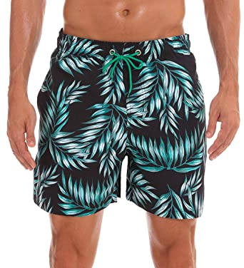 d655940b532 TBMPOY Mens Quick Dry Colorful Swim Trunks Summer Beach Board Shorts  Printed(Bamboo Leaf,