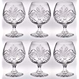 Crystal - Sherry - Brandy - Cognac - Snifter - Glasses - Set of 6 - Handcrafted - Crystal Glass - Great for Spirits - Drinks - Bourbon - Wine - 11 ounce - Made in Europe - by Barski