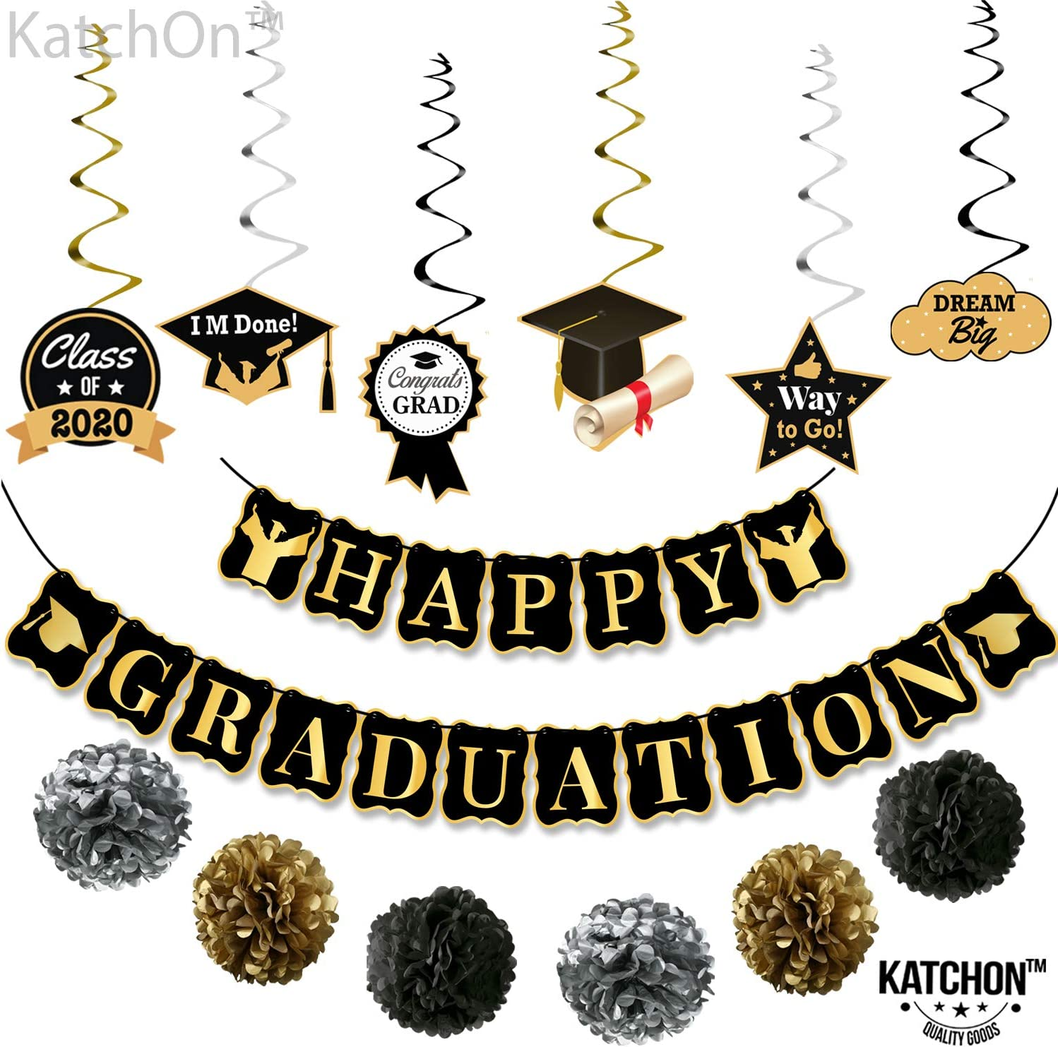 Black and Gold Class of 2020 Graduation Banner Party Decoration