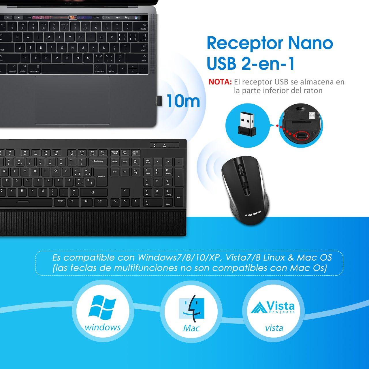 VicTsing Pack de Teclado y Ratón Inalámbricos, Teclado Inalámbricos(QWERTY Español 104 Tecla, USB, 2.4GHz, para PC, Tableta, Ordenador, Smart TV): Amazon.es: Informática